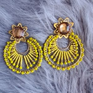 💛Statement /long studs earrings yellow boho